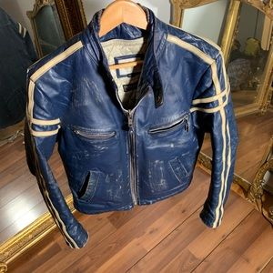 90s distressed motorcycle  style leather jacket